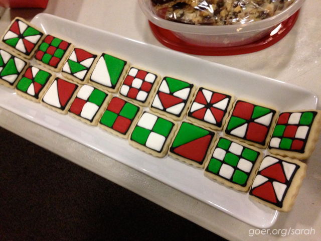 quilt block royal icing cookies