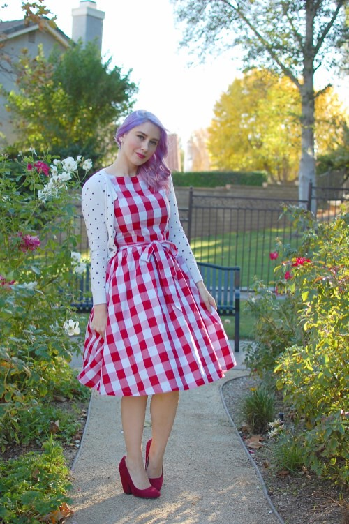 Lindy Bop Audrey dress in Red Gingham 008