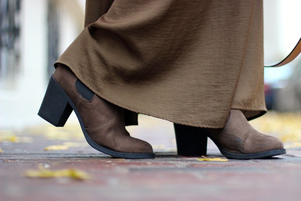 brown booties with a maxi skirt