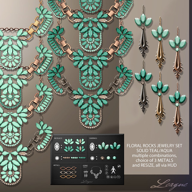 League Floral Rocks Jewelry Set Solid TealAqua