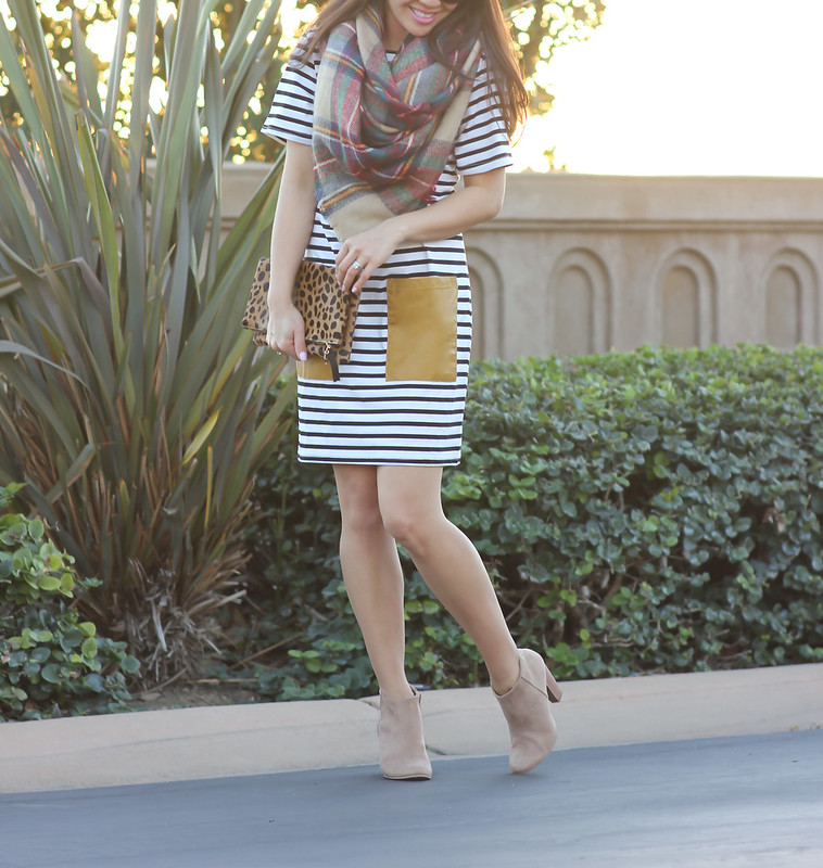 Sheinside striped tee dress w-faux leather pockets and Plaid Blanket Scarf