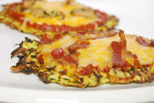 Zucchini Pizza Crust with Turkey Bacon-001