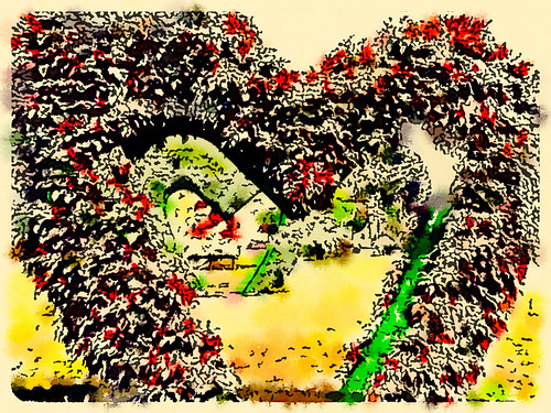 Bangkok's Lumpini Park Heart Shrubs Using Fashionable Style in Waterlogue