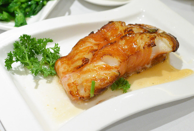 Baked Black Cod large fillet of black cod marinated and baked in special glaze