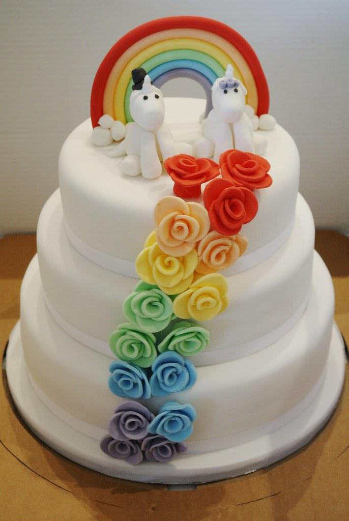 Rainbow Rose Cascade Wedding Cake