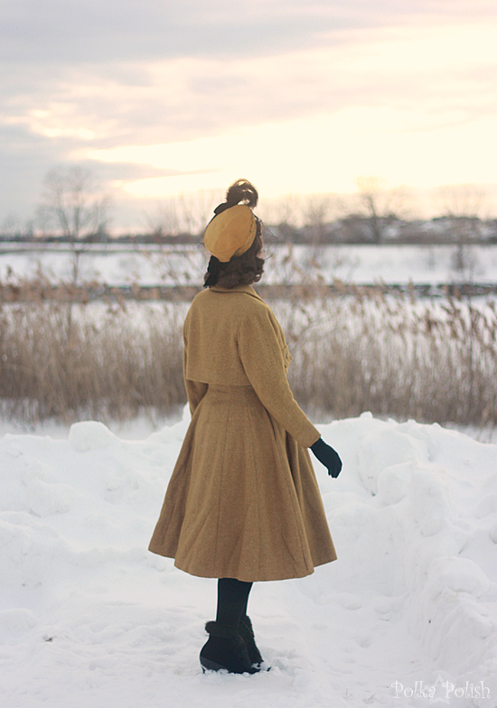 yellow coat in snow 4