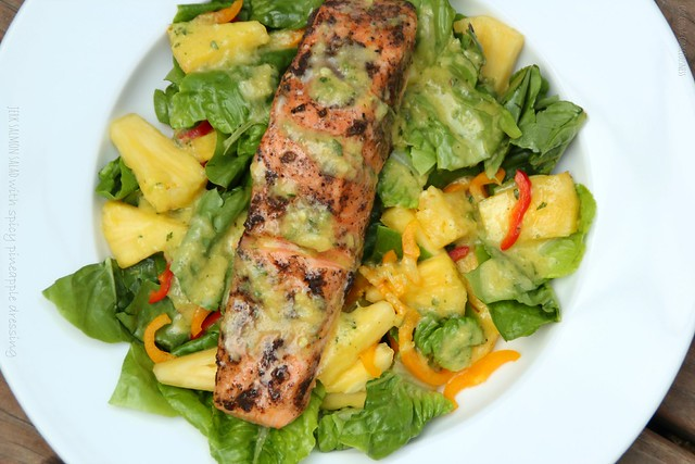 Jerk Salmon Salad with Spicy Pineapple Dressing 3