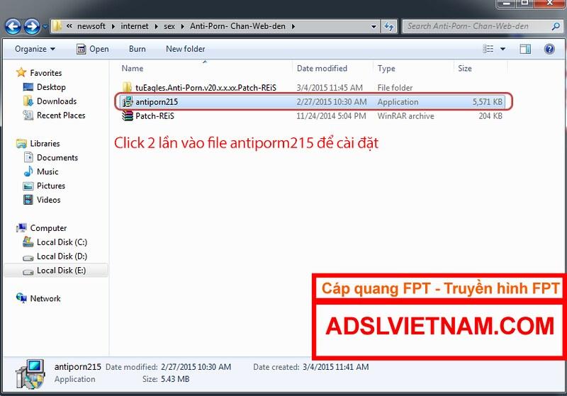 Phần mềm anti-porm : thư mục cài đặt