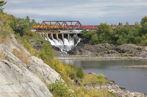railroad bridge train waterfall railway locomotive hc espanola emd gp402w espanolaontario huroncentral