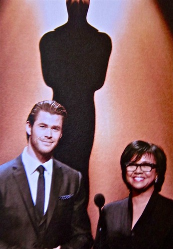 actor Chris Hemsworth and Academy Prsdient Cheryl Boone Isaacs