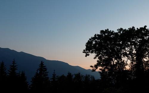 trees sunset mountain austria carinthia
