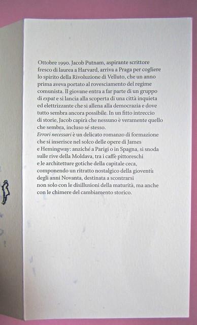 Errori necessari, di caleb Crain. 66thand2nd edizioni 2014. Progetto grafico: : Silvana Amato. Ill. alla cop.: P. d'Oltreppe. Risvolto di copertina (part), 1