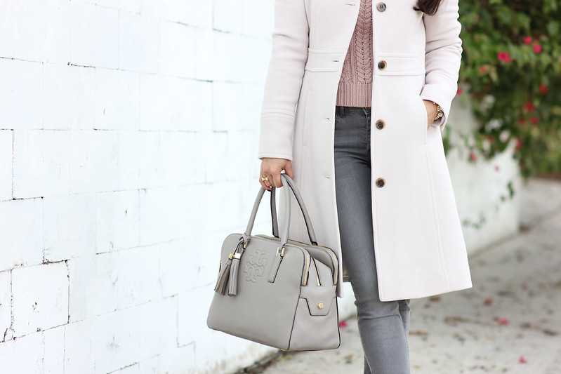 Grey Skinny Jeans, Gap Cable Sweater and J.Crew Lady Day Coat-6