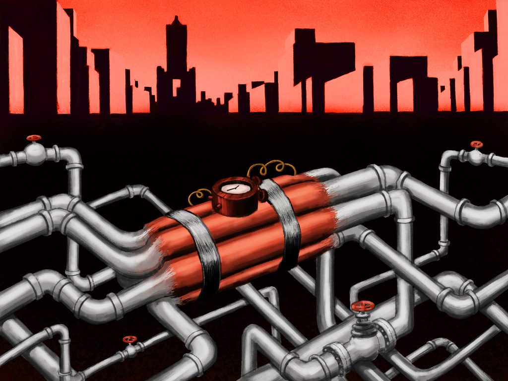 地下埋藏錯綜複雜的石化管線,宛如不定時炸彈,威脅著生活在地面上的人們。繪圖:Gary Tsai