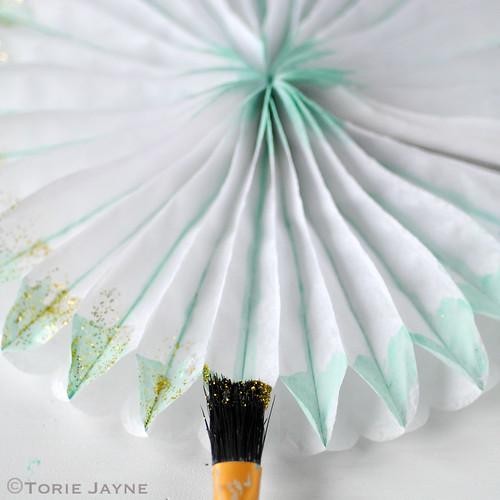 Painted & glittered paper fan tutorial