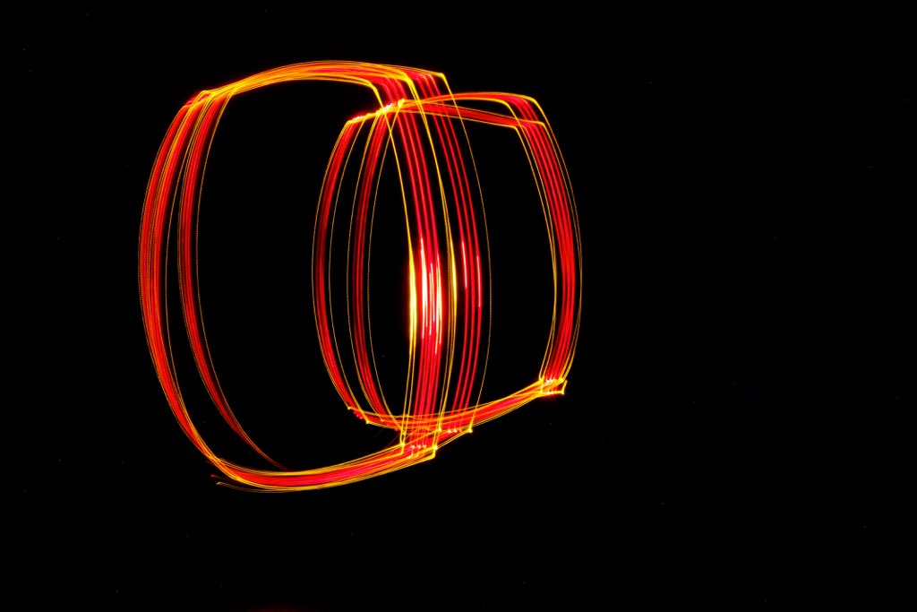 orange light painting via The Caffeinated Closet