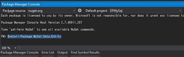 1. Install EF MySql