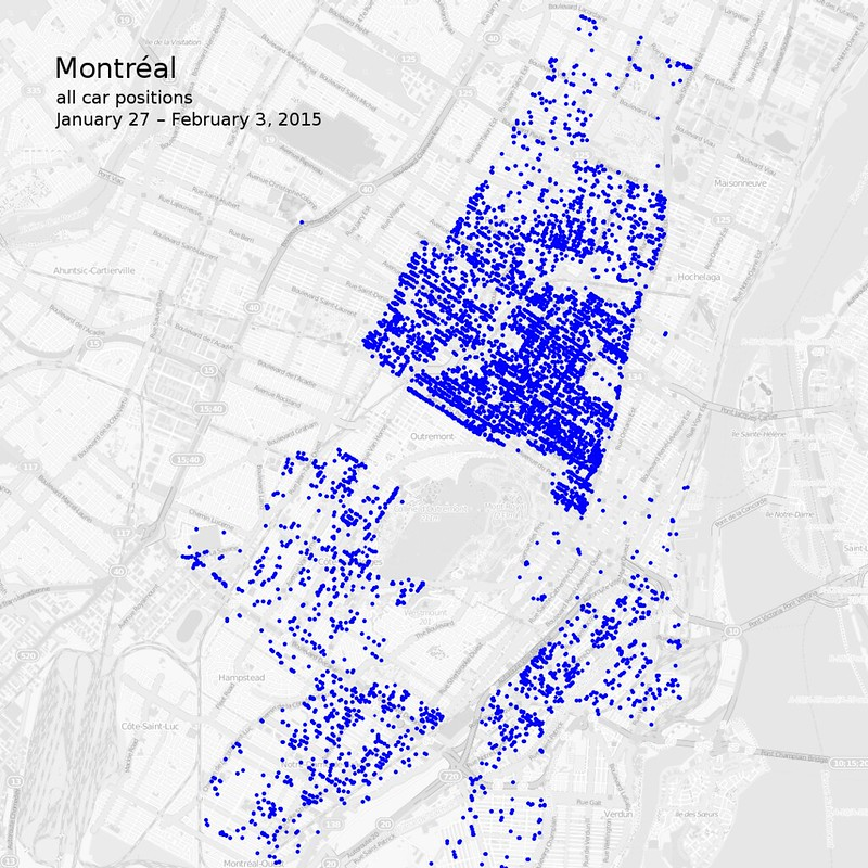 Map of all car2go vehicle positions in Montréal