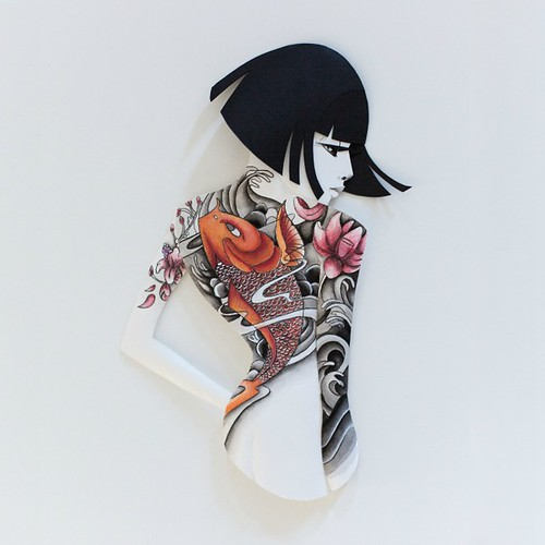 Illustrated Paper Sculpture - inked woman with dark hair bob
