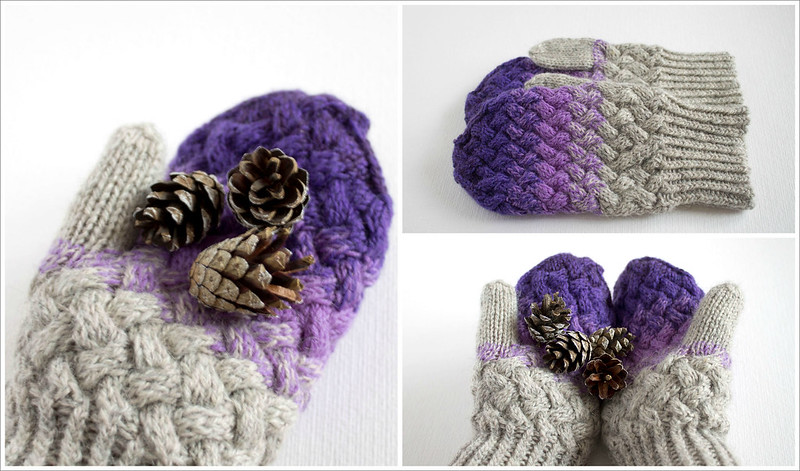 Purple grey gradient cabled mittens