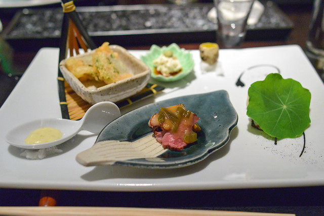 lobster tempura, seared duck breast, blue crab roll, and housemade tofu