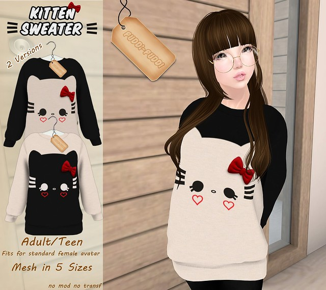 ::Puddi-Puddi:: Adult/Teen Female Kitten Sweater