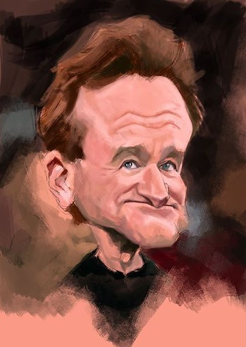 Robin Williams digital caricature painting on book Mad Artist