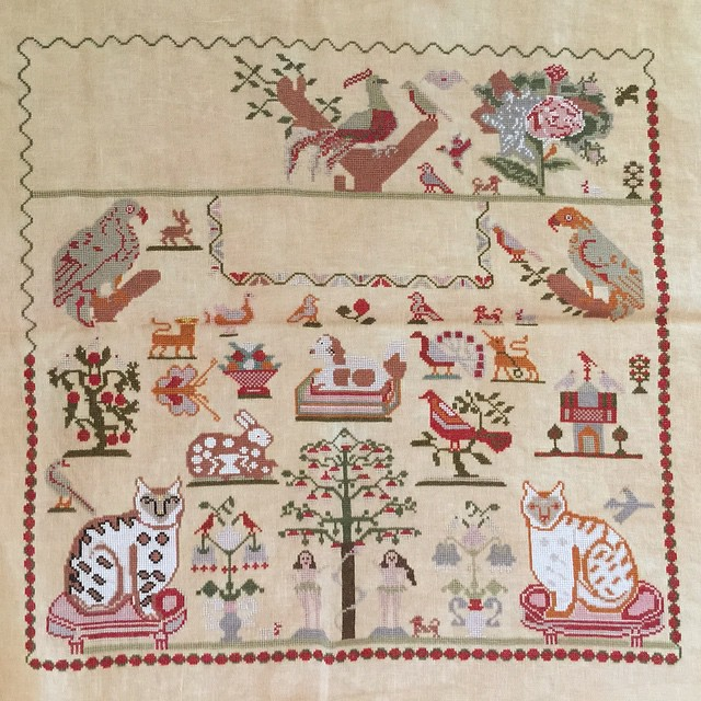 And here is the whole sampler so far. Not too much more to go! #charlotteclayton #reproductionsampler #crossstitch