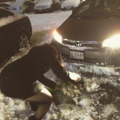 That time when you get home from a wedding in a snow storm as have to shovel your way into the parking spot while in wedding attire. Oh wait, this was last night. Look at @ld1884 taking care of business!