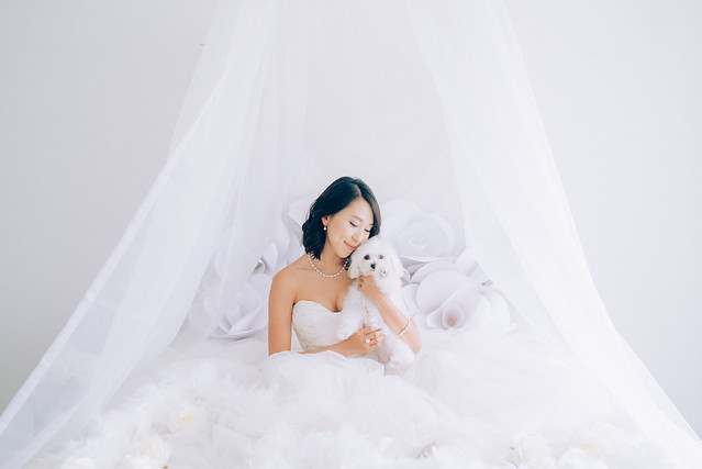 White wedding, style shoot, Multifolds, Tangyong Makeup, Heaven in Wild Flower, pure, white on white, wedding, jewellery, Melissa Celestine Koh, Truly Enamoured, Tiffany and Co Jewellery, flowers, white dog, chandelier