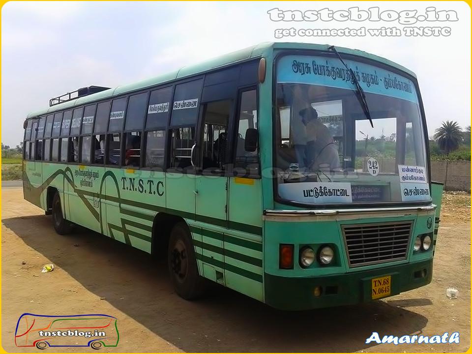 TN-68N-0645 of Pattukottai Depot Route 242 D Pattukottai - Chennai via Manargudi, Kumbakonam, Panruti, Tindivanam.