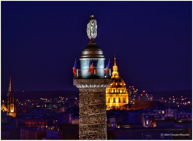 Vendome column at night. Napoleon's statue faces his burial place at Les Invalides