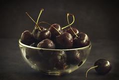 Ripe cherry berries in in rustic style