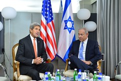 U.S. Secretary of Sate John Kerry speaks with Israeli Prime Minister Netanyahu at the London New York Hotel in New York City, New York on September 23, 2016. [State Department Photo/Public Domain]