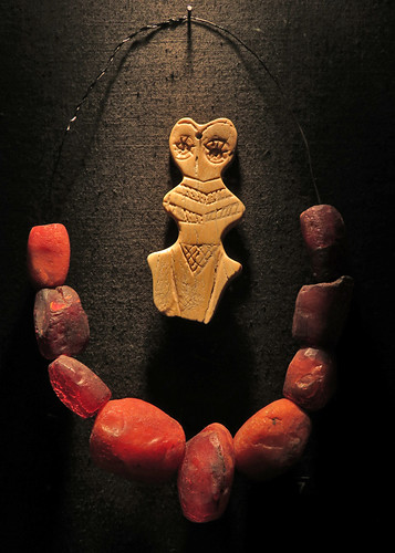 Early Venus figurine and amber necklace Prehistoric Museum in Ireland