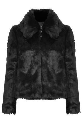 topshop faux fur collar bomber jacket black