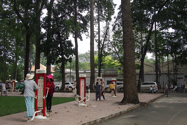 exercise equipment in a park, Ho Chi Minh City (Saigon), Vietnam