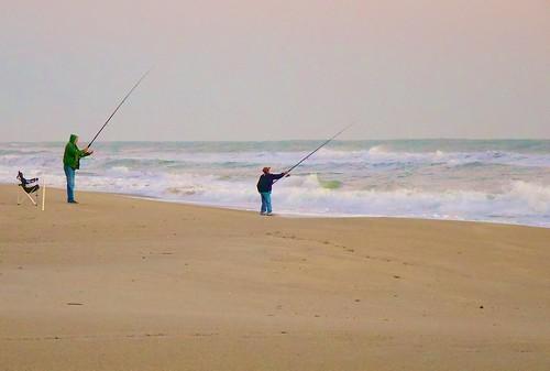 ocean sunrise dawn fishing chair surf fishermen florida seat fishingpole beachchair indialantic