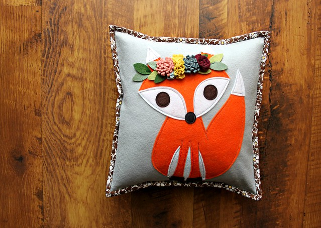 Flower Crown Fox Pillow