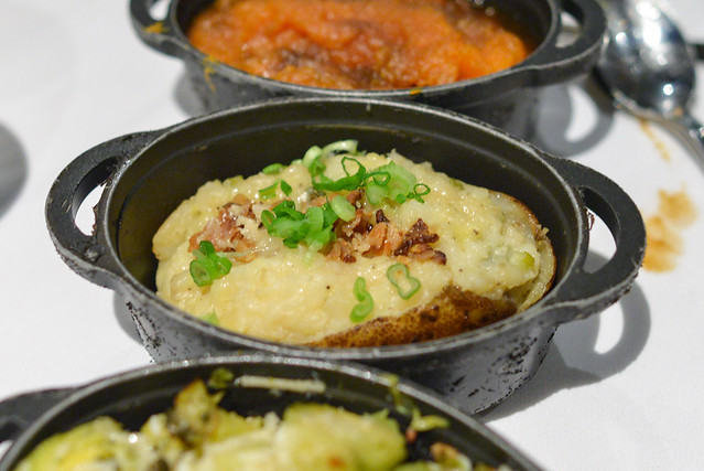 twice-baked potato with zucchini, chives, bacon & cheese