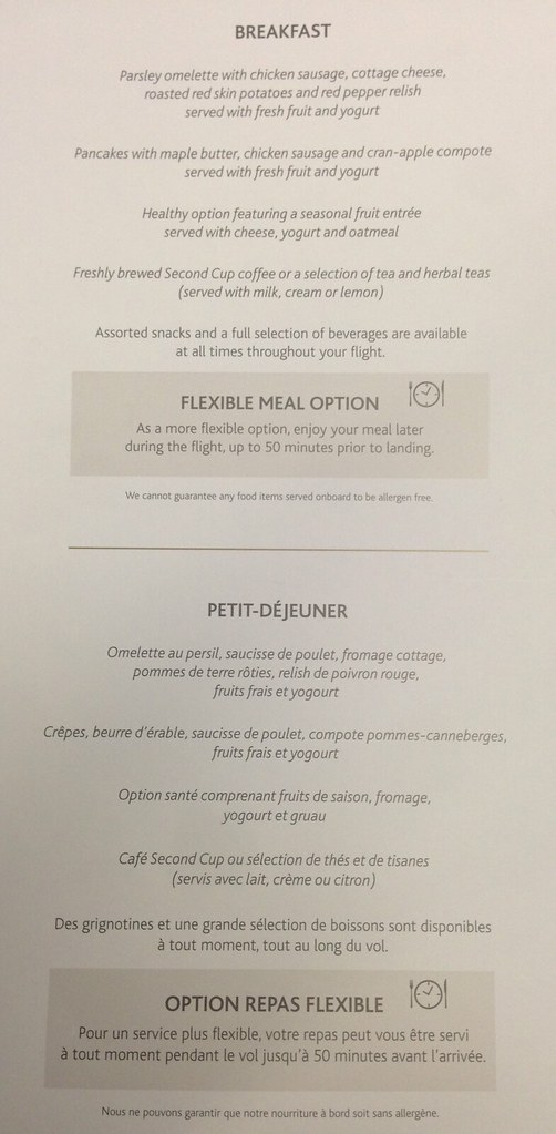 Inflight Breakfast Menu