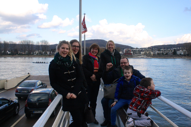 The whole Euro-Virtue crew on the boat crossing the Rhine, Bonn