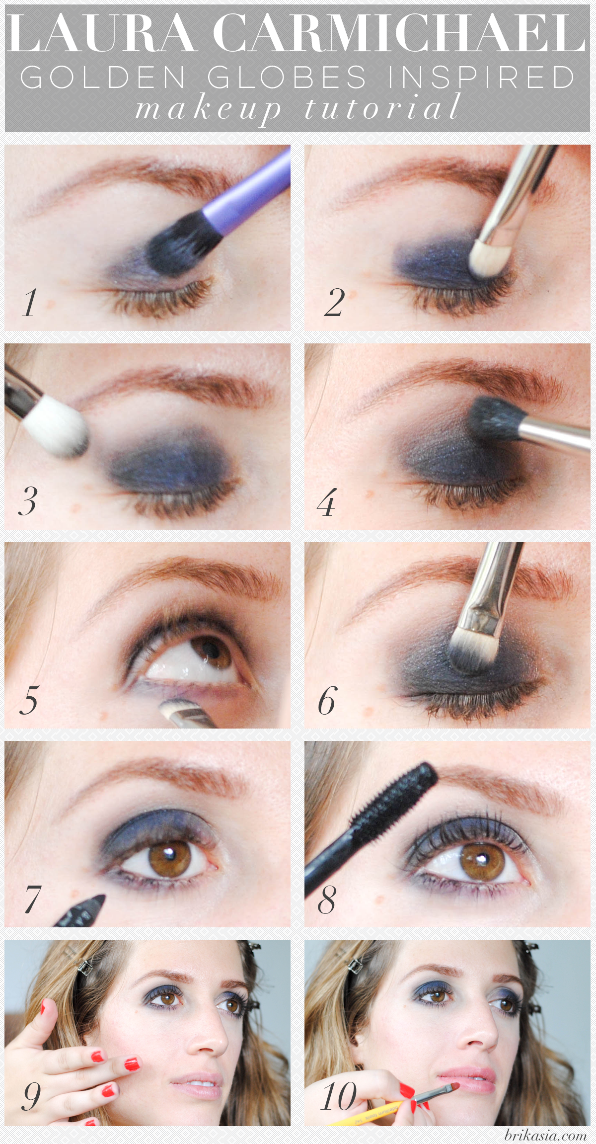 Blue Smoky Eye Makeup Tutorial, Laura Carmichael Golden Globes 2015 Makeup Tutorial, how to do a smoky eye