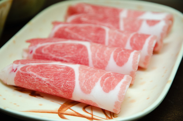 Fresh pork slices at Restaurant Shabu Shabu 强强滚