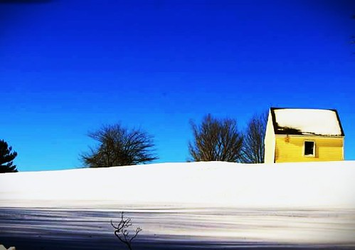 blue winter sky white snow weather yellow rural landscape countryside country shed weatherphotography