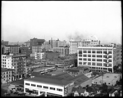 Panoramic view of downtown Los Angeles, looking east with the 8th Street and Olive Street intersection in view, ca.1910-1913 (CHS-2078)