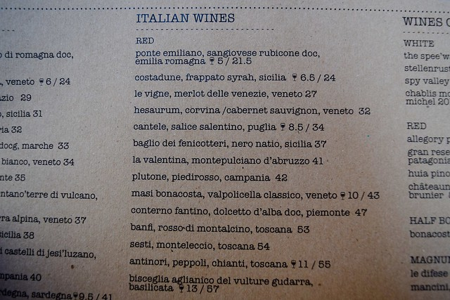Cucina Asellina Wine List, Covent Garden
