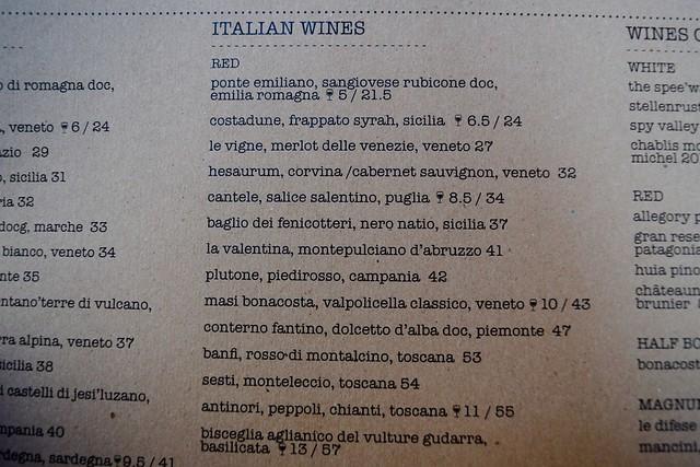 Cucina Asellina Wine List, Covent Garden