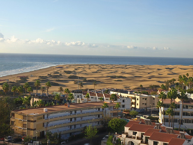 View from terrace of 360 degree restaurant, Bohemia Suites & Spa, Gran Canaria