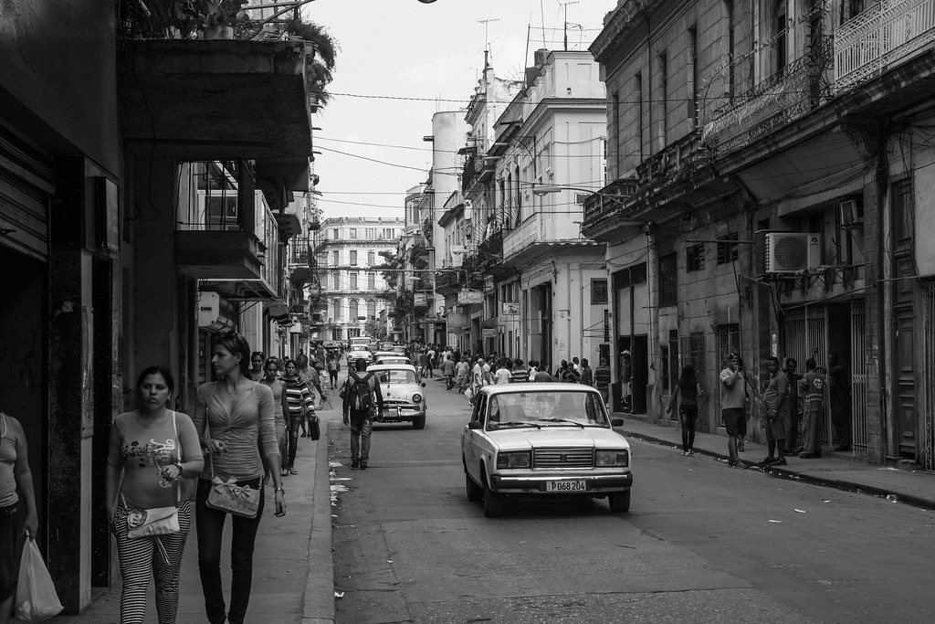 Streets of Havana, Cuba with decrepid buildings and old cars Black and White.jpg